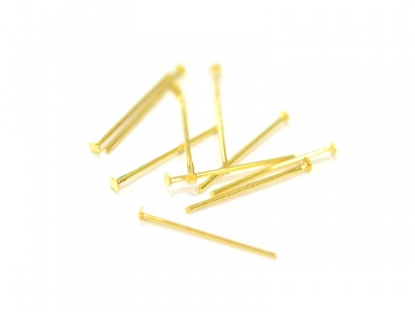 10 gold-coloured head pins - 20 mm