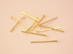 10 clous à tête plate doré - 20 mm