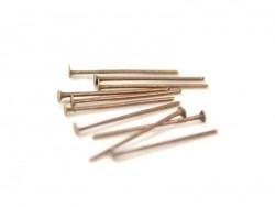 10 clous à tête plate bronze - 15 mm