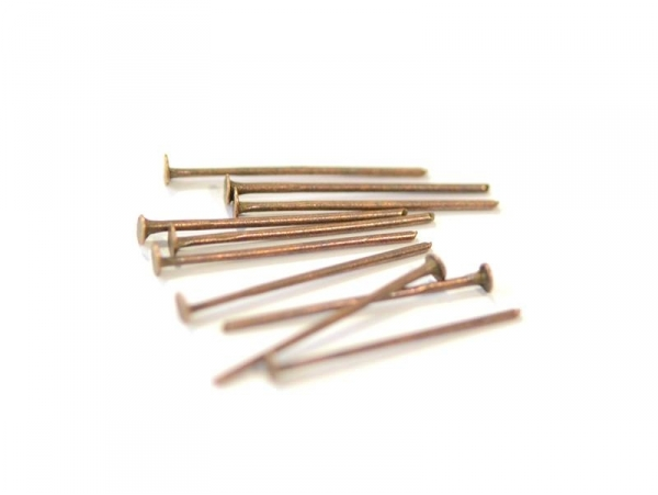 10 copper-coloured head pins - 20 mm