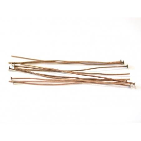 10 copper-coloured head pins - 70 mm