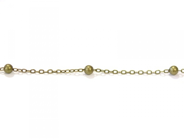 1 m bronze-coloured cable chain with bronze-coloured beadlets