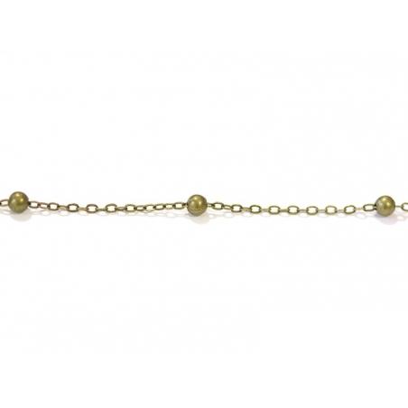 1m chaîne forçat à bille couleur bronze