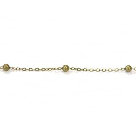 1m chaîne forçat à bille couleur bronze   - 1