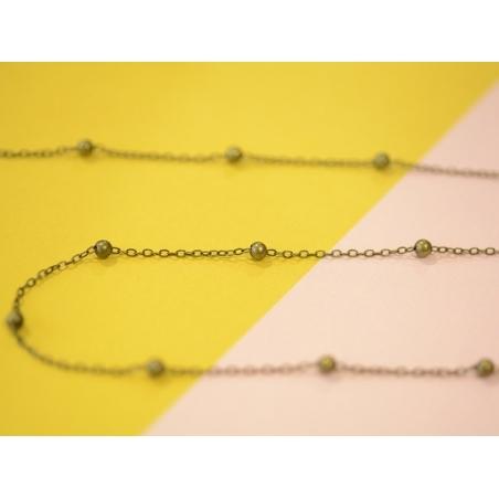 1m chaîne forçat à bille couleur bronze   - 2