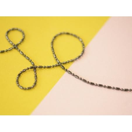 1m chaîne bille fantaisie couleur argenté foncé