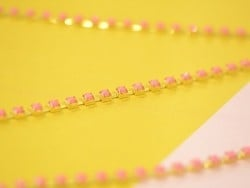 1m chaîne fantaisie strass rose - 3 mm