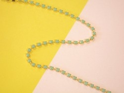 1m chaîne fantaisie strass bleu turquoise - 3 mm