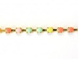 1m chaîne fantaisie strass multicolore - 3 mm