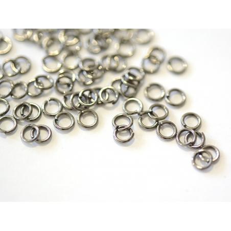 100 dark silver-coloured jump rings - 4 mm