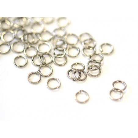 100 anneaux métal noir - 5 mm  - 1