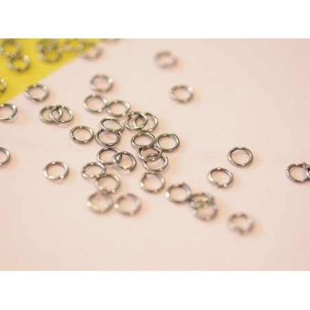 100 dark silver-coloured jump rings - 5 mm