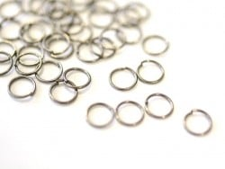 100 dark silver-coloured jump rings - 7 mm