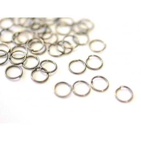 100 anneaux argenté foncé - 7 mm  - 1