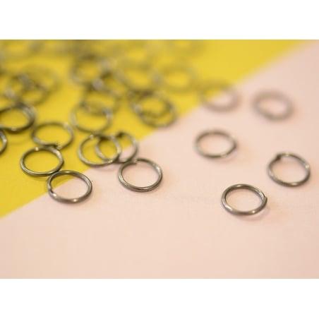 100 anneaux argenté foncé - 7 mm  - 2