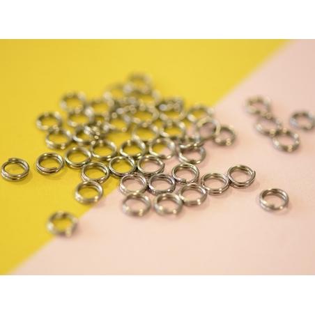 100 anneaux doubles métal noir - 5 mm
