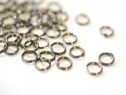 100 anneaux doubles argenté foncé - 6 mm