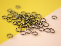 100 dark silver-coloured double jump rings - 6 mm