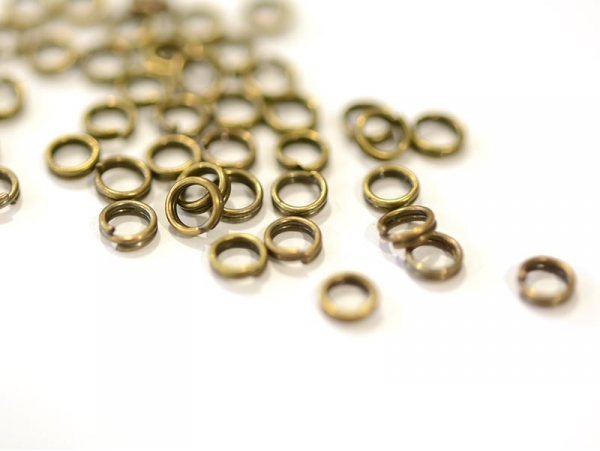 100 bronze-coloured double jump rings - 4 mm
