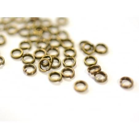 100 anneaux doubles bronze - 4 mm  - 1