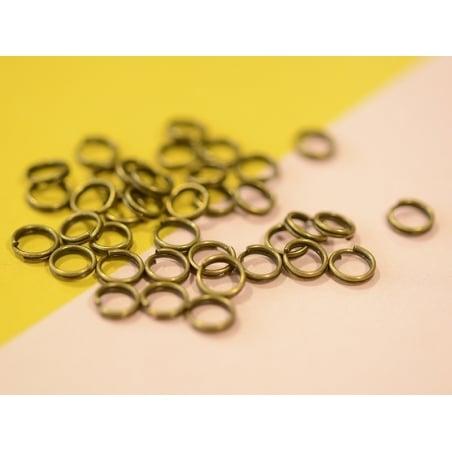 100 anneaux doubles bronze - 6 mm  - 2