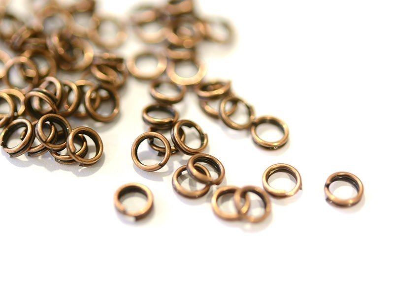 100 anneaux doubles cuivre - 4 mm  - 1