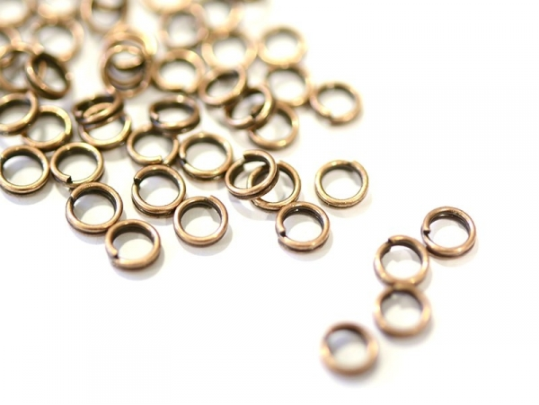 100 copper-coloured double jump rings - 5 mm