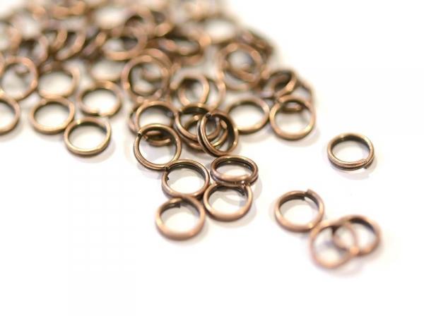 100 anneaux doubles cuivre - 6 mm  - 1