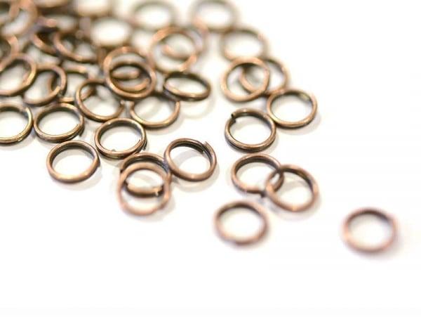 100 anneaux doubles cuivre - 7 mm  - 1
