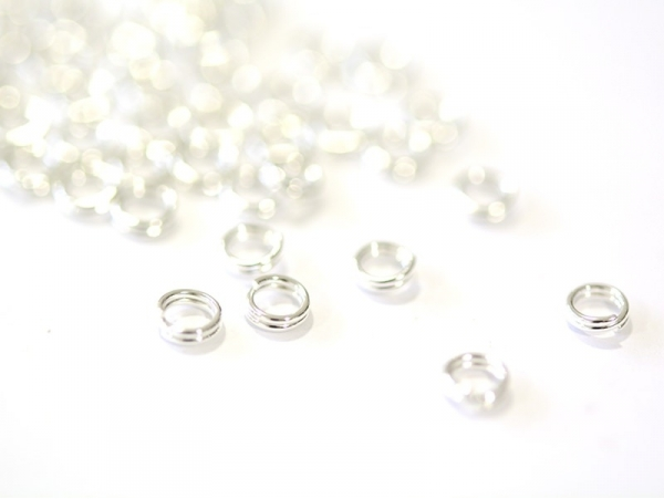 100 light silver-coloured double jump rings - 4 mm