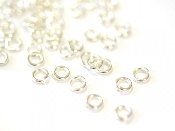 100 light silver-coloured jump rings - 5 mm