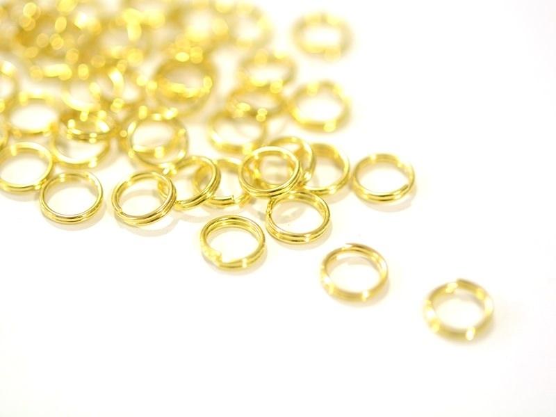 100 anneaux double couleur doré - 7 mm  - 1