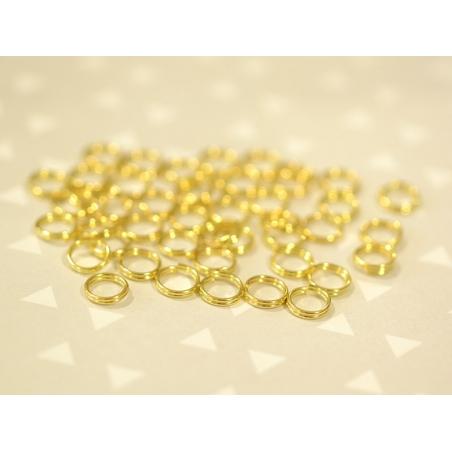 100 anneaux double couleur doré - 7 mm  - 2