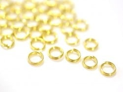 100 anneaux double couleur doré - 6 mm  - 1