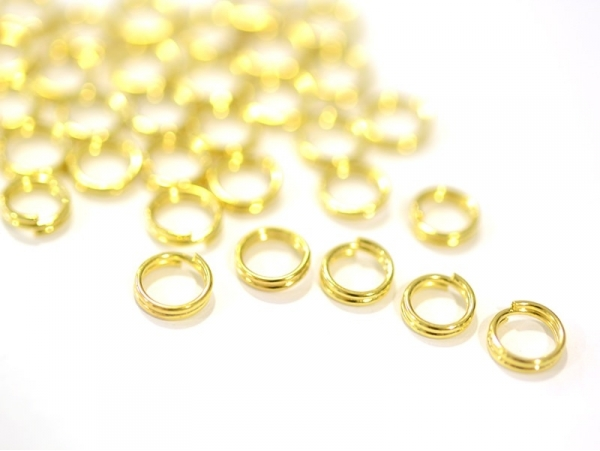 100 gold-coloured double jump rings - 6 mm