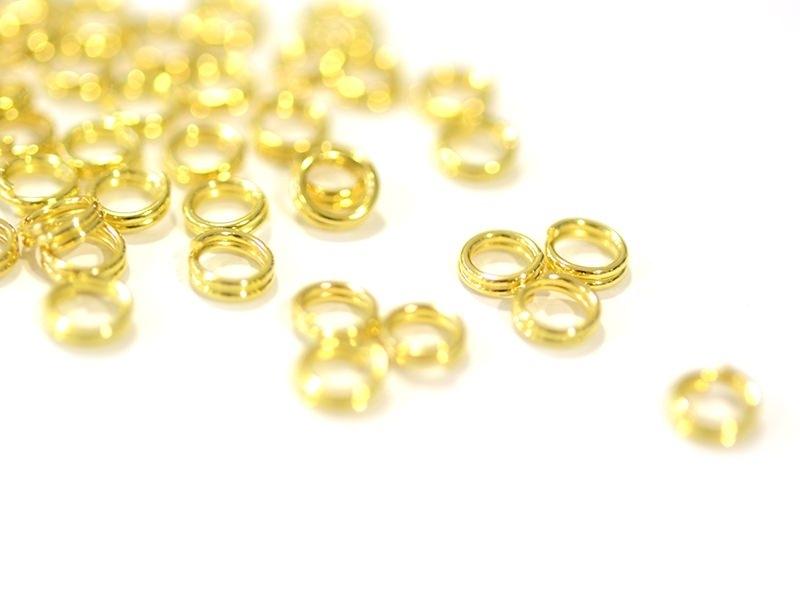 100 anneaux double couleur doré - 5 mm  - 1
