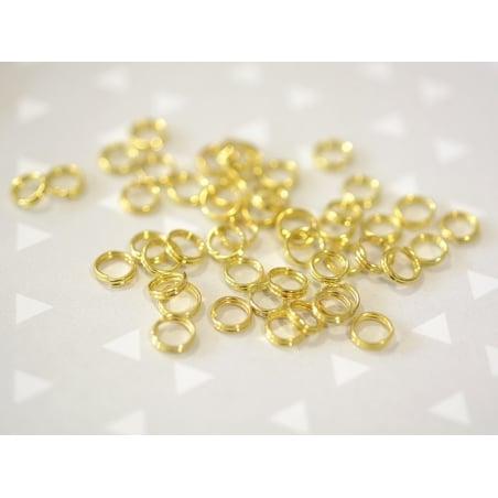 100 anneaux double couleur doré - 5 mm  - 2