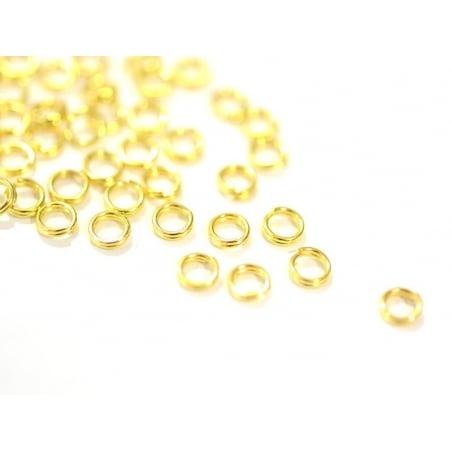 100 anneaux double couleur doré - 4 mm  - 1