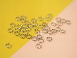 100 silver-coloured double jump rings - 5 mm