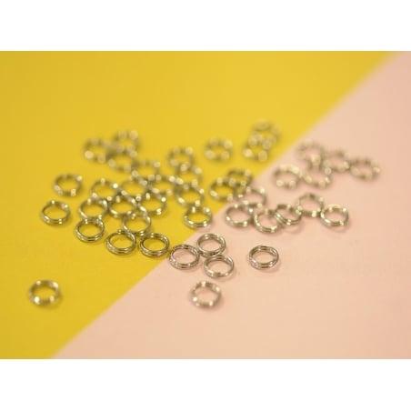 100 anneaux doubles couleur argenté - 5 mm  - 2