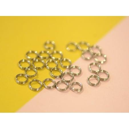 100 anneaux doubles couleur argenté - 6 mm  - 2