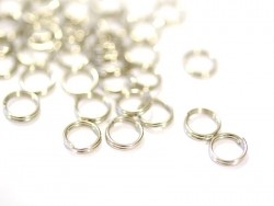 100 silver-coloured double jump rings - 7 mm