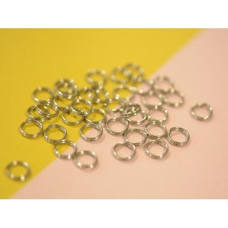 100 anneaux doubles couleur argenté - 7 mm