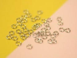 100 silver-coloured jump rings - 4 mm