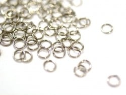 100 silver-coloured jump rings - 5 mm