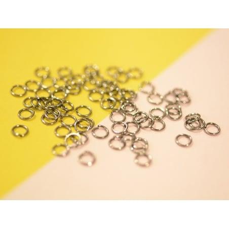 100 anneaux couleur argenté - 5 mm  - 2