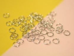 100 silver-coloured jump rings - 6 mm