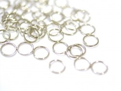 100 silver-coloured jump rings - 7 mm