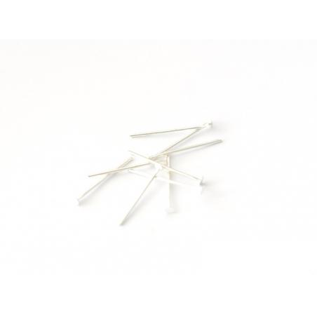 10 clous à tête plate argenté clair - 20 mm