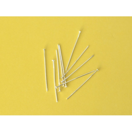 10 light silver-coloured head pins - 30 mm